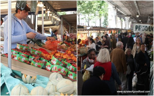 The busy Marché Grenelle full of fruit, veg and flower stalls among other things attracting shoppers from all over the city