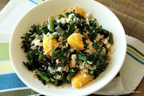 kale rice and feta salad