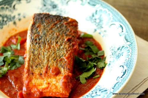 salmon and spicy sauce